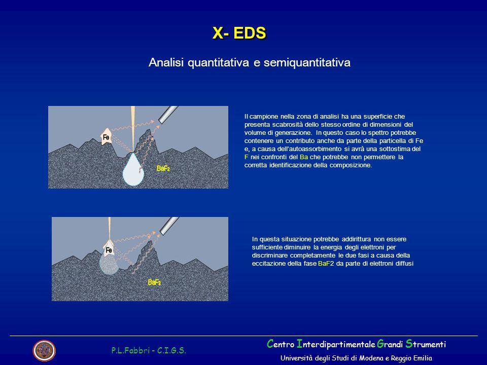 X- EDS Analisi quantitativa e semiquantitativa