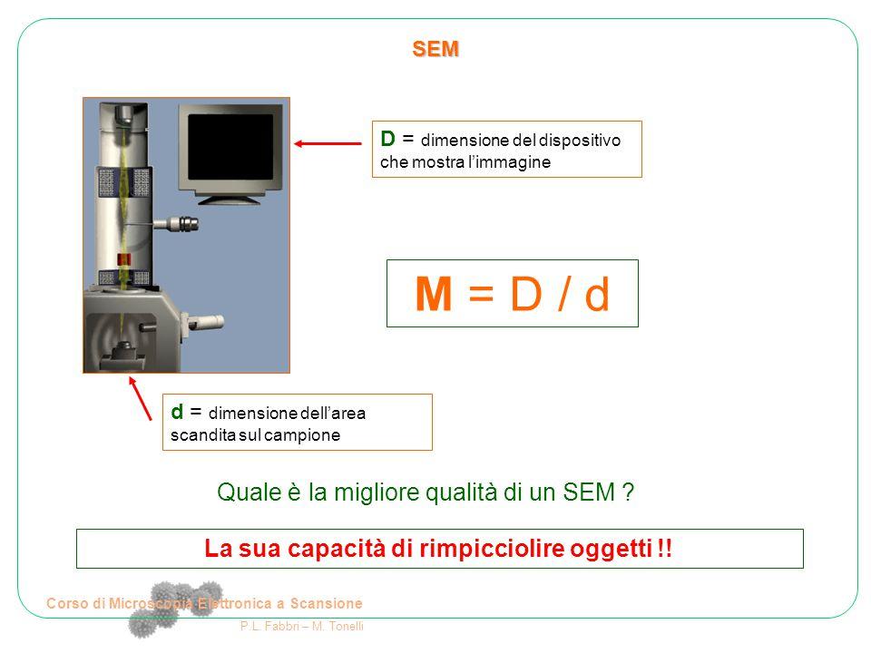 M = D / d Quale è la migliore qualità di un SEM
