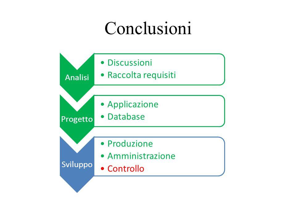 Conclusioni Discussioni Raccolta requisiti Applicazione Database