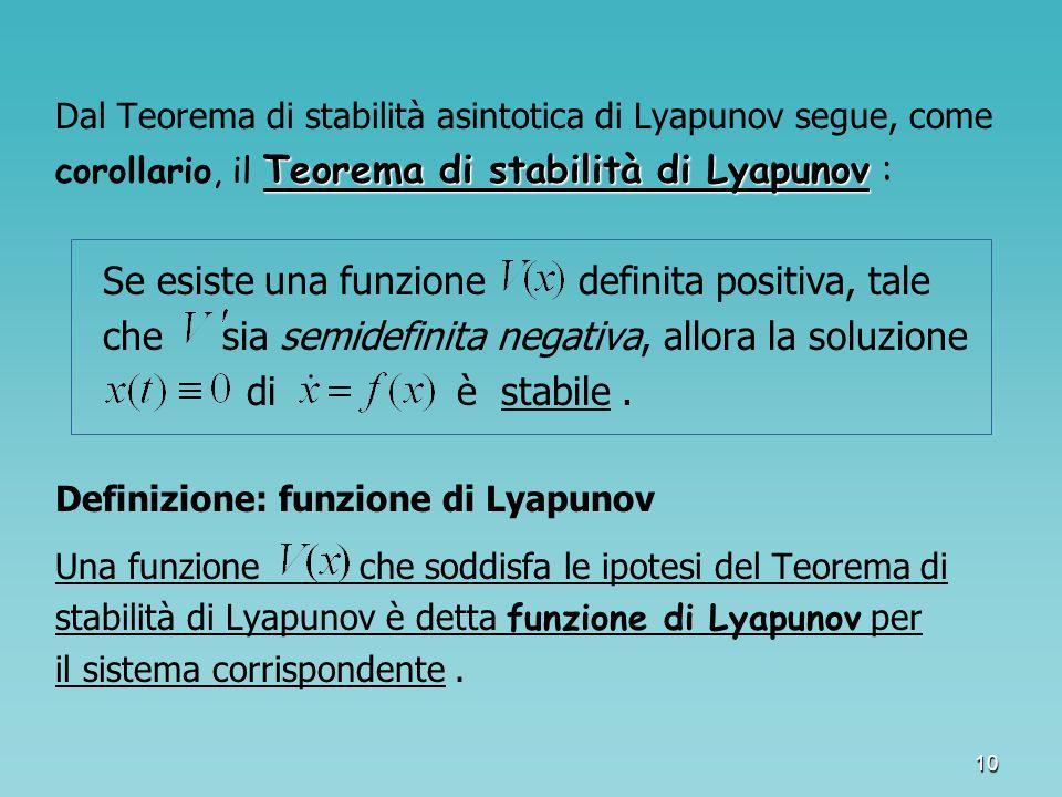 Se esiste una funzione definita positiva, tale