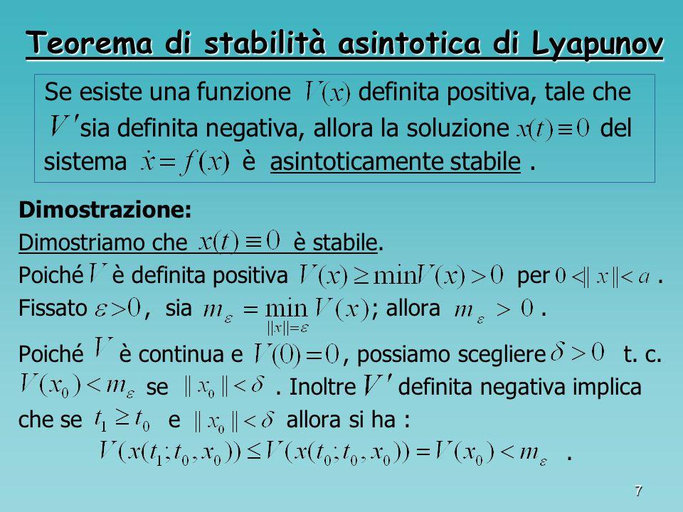 Teorema di stabilità asintotica di Lyapunov