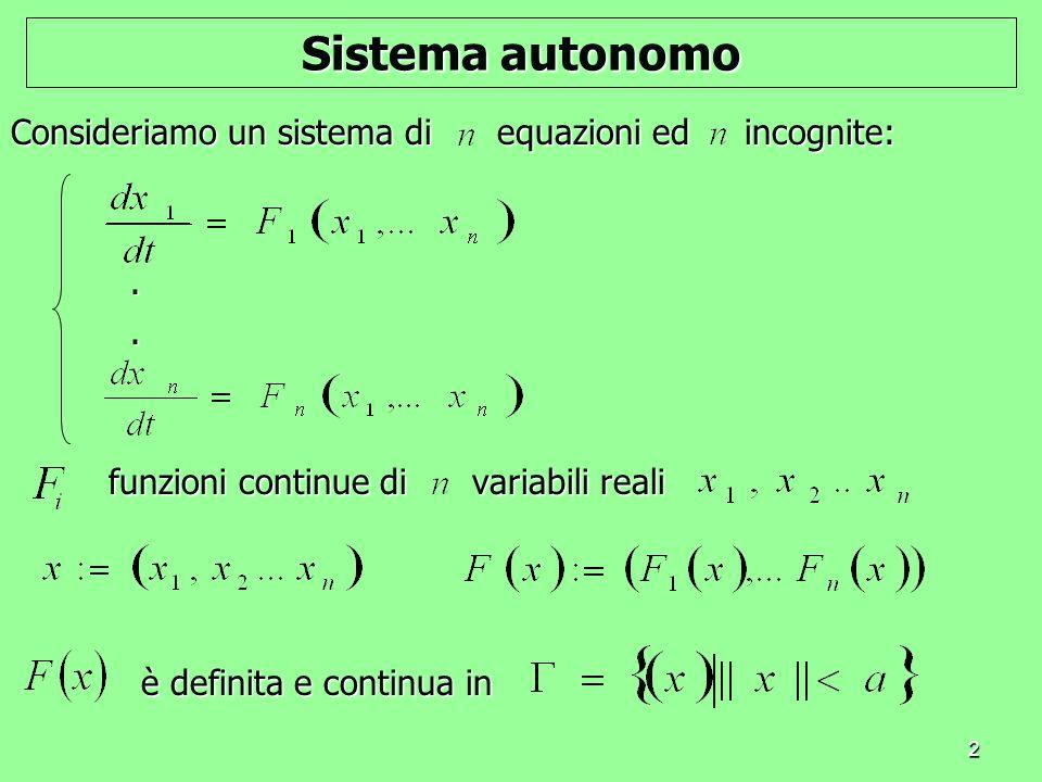 Sistema autonomo Consideriamo un sistema di equazioni ed incognite: .