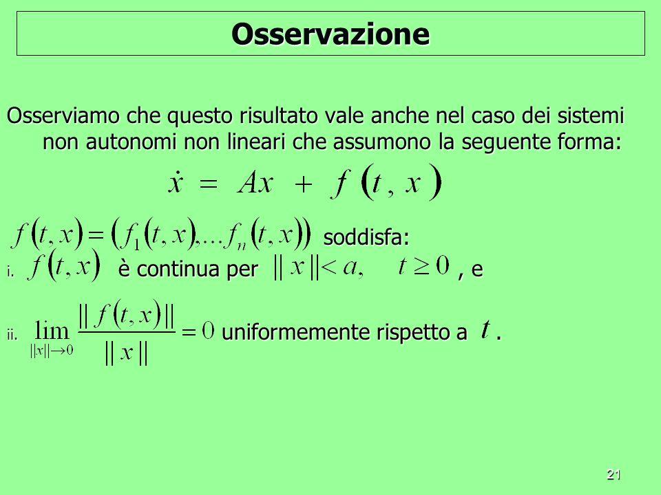 Osservazione Osserviamo che questo risultato vale anche nel caso dei sistemi non autonomi non lineari che assumono la seguente forma: