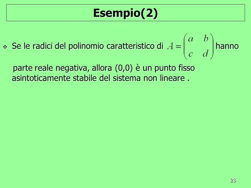 Esempio(2) Se le radici del polinomio caratteristico di hanno