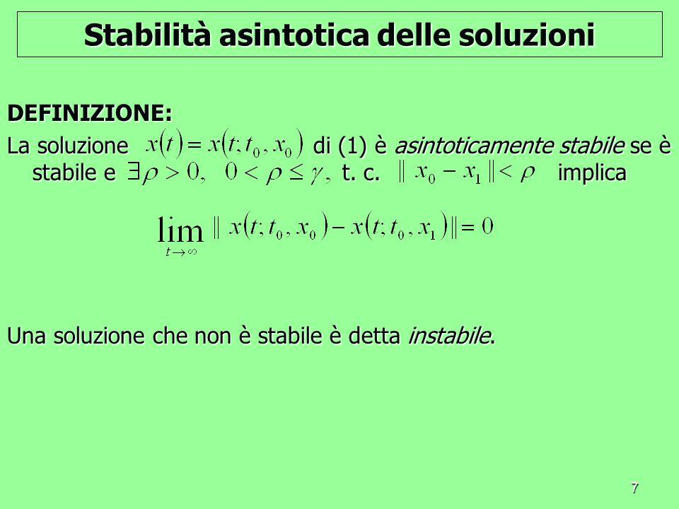 Stabilità asintotica delle soluzioni