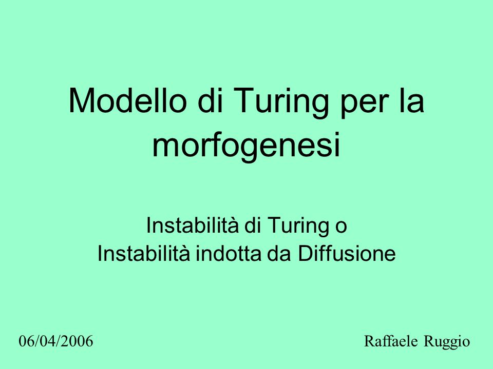 Modello di Turing per la morfogenesi