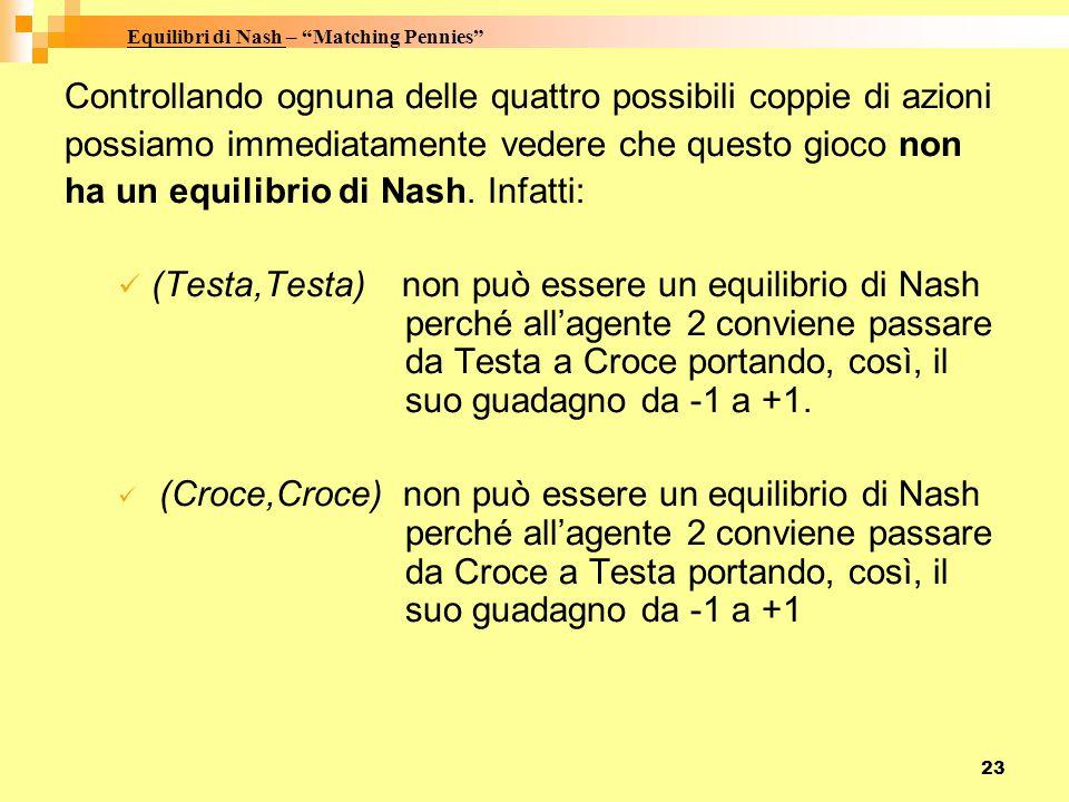 Equilibri di Nash – Matching Pennies