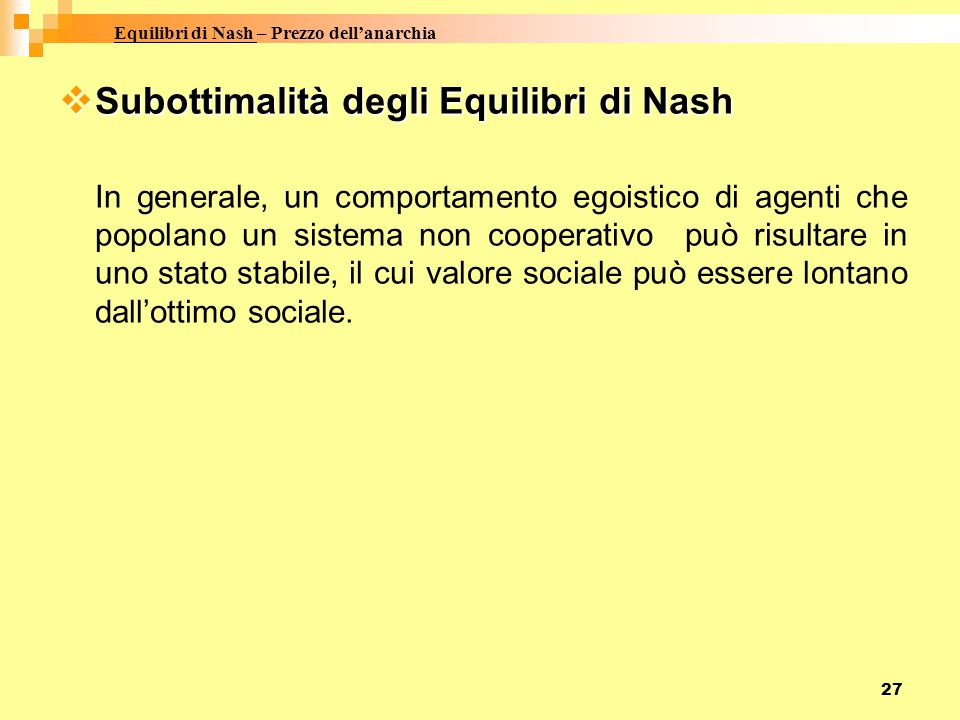 Equilibri di Nash – Prezzo dell'anarchia