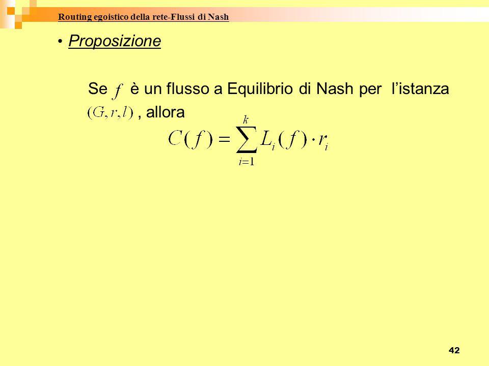 Routing egoistico della rete-Flussi di Nash Proposizione