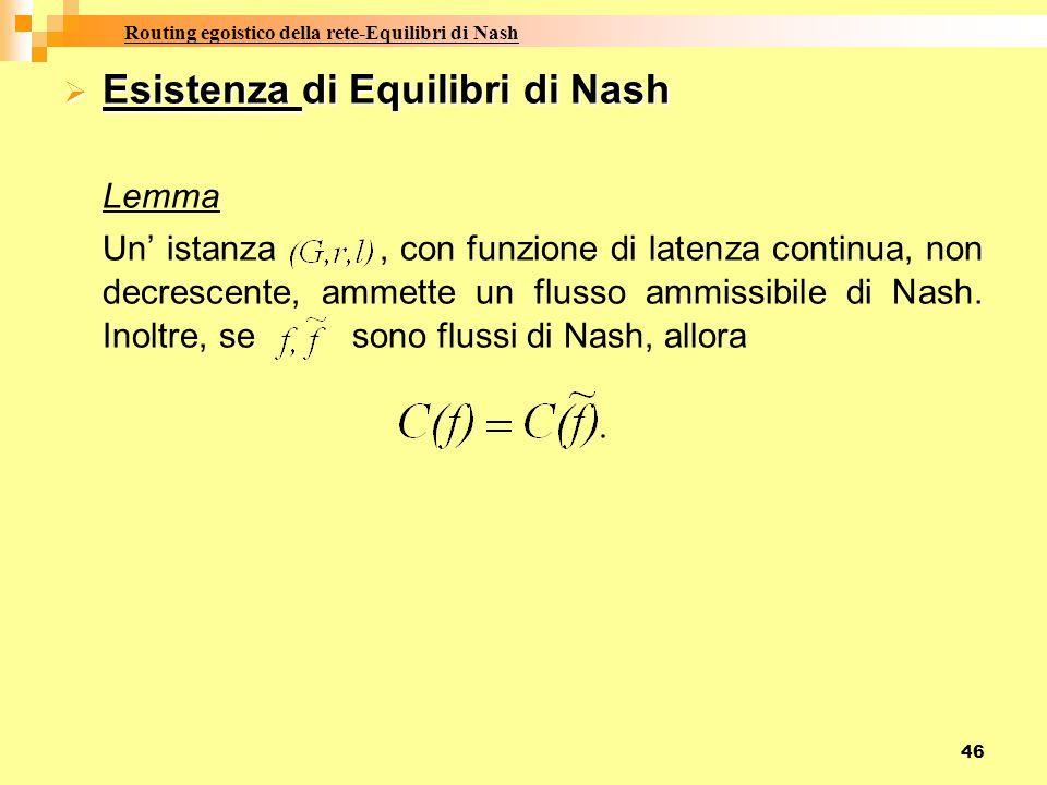 Routing egoistico della rete-Equilibri di Nash
