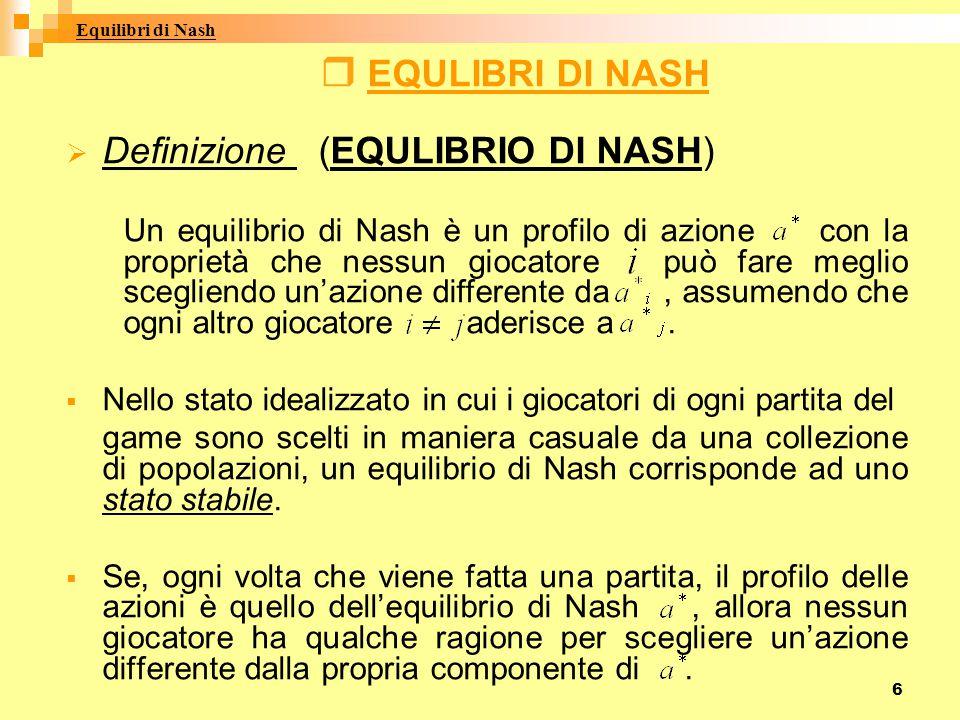 Definizione (EQULIBRIO DI NASH)