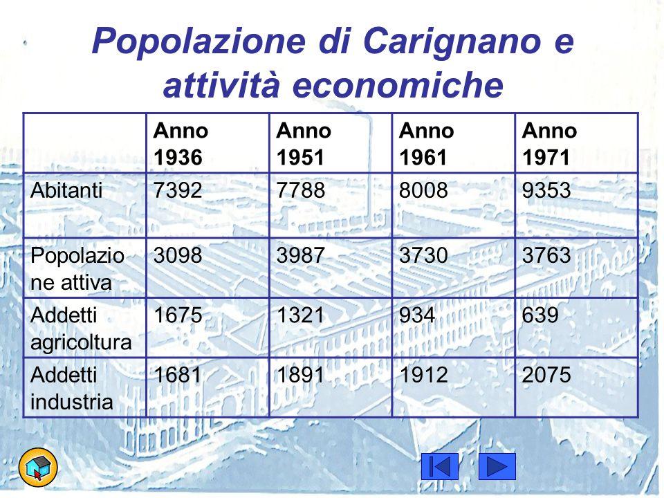Popolazione di Carignano e attività economiche