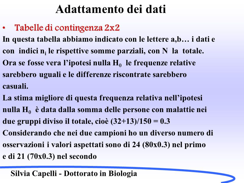 Adattamento dei dati Tabelle di contingenza 2x2