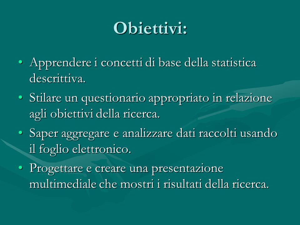 Obiettivi: Apprendere i concetti di base della statistica descrittiva.