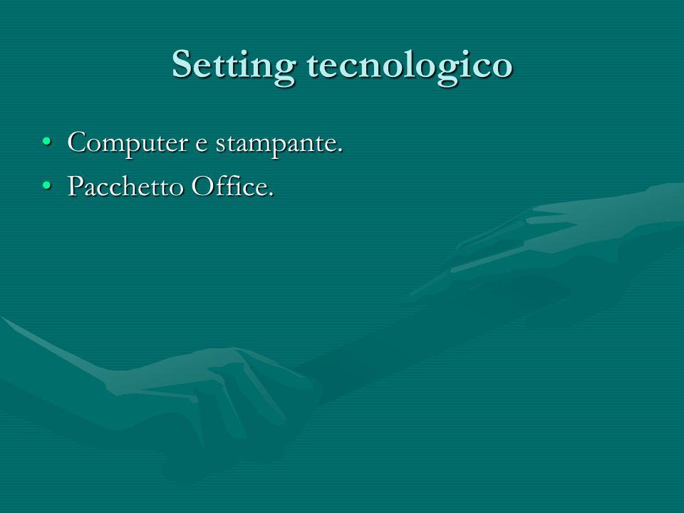 Setting tecnologico Computer e stampante. Pacchetto Office.