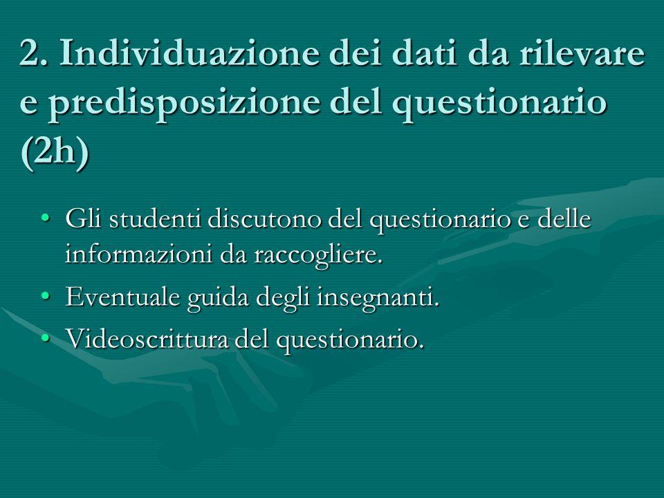 2. Individuazione dei dati da rilevare e predisposizione del questionario (2h)