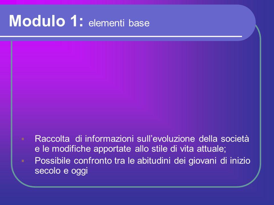 Modulo 1: elementi base Raccolta di informazioni sull'evoluzione della società e le modifiche apportate allo stile di vita attuale;