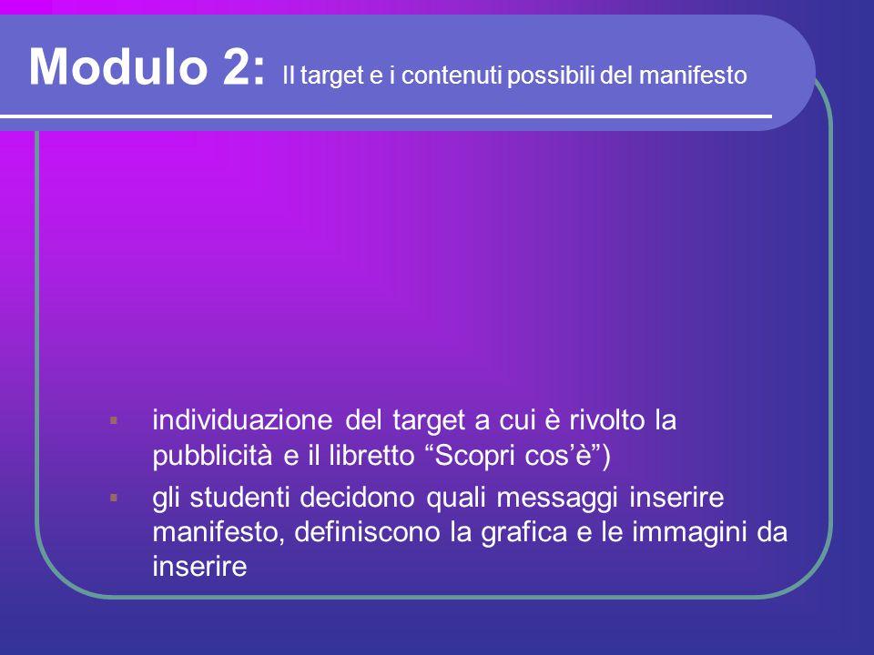 Modulo 2: Il target e i contenuti possibili del manifesto
