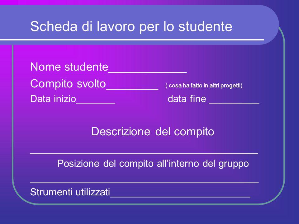 Scheda di lavoro per lo studente