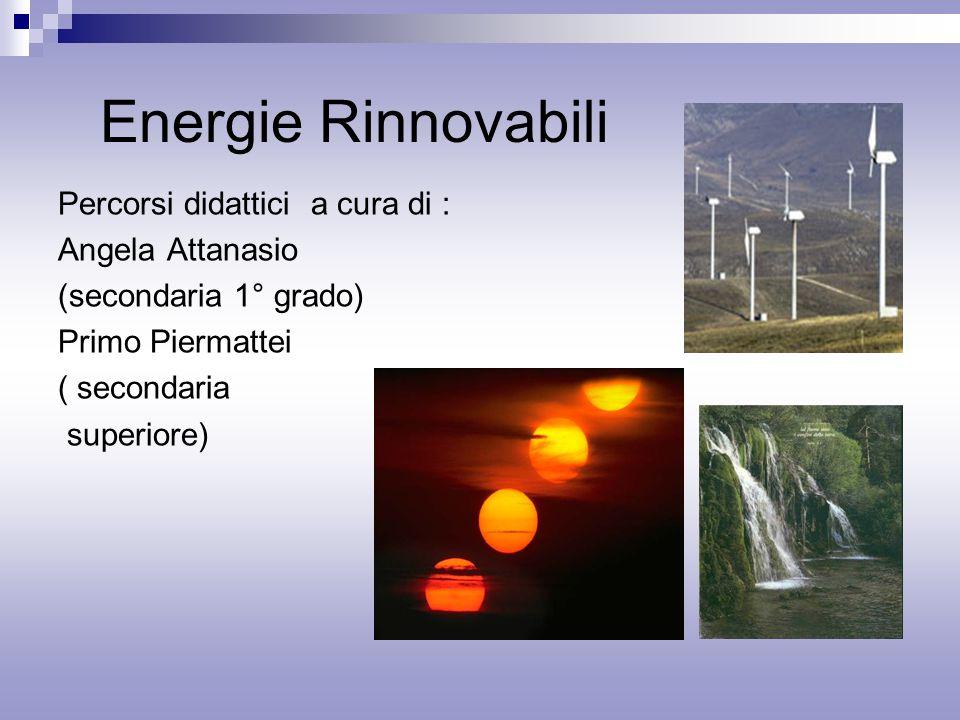 Energie Rinnovabili Percorsi didattici a cura di : Angela Attanasio