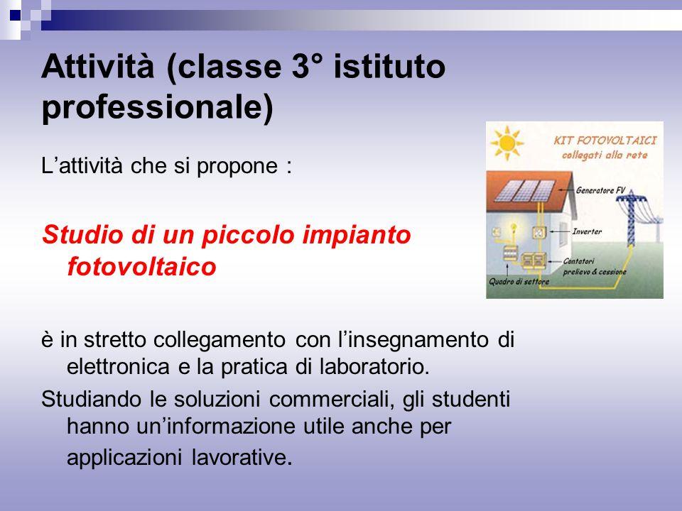 Attività (classe 3° istituto professionale)