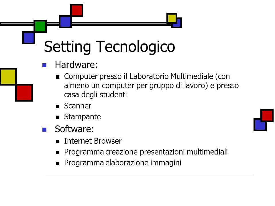 Setting Tecnologico Hardware: Software: