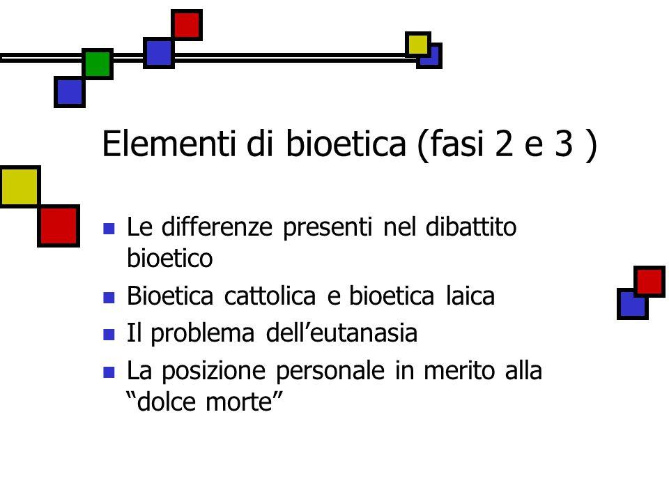 Elementi di bioetica (fasi 2 e 3 )