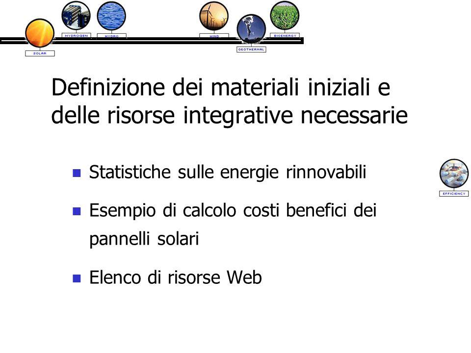 Definizione dei materiali iniziali e delle risorse integrative necessarie