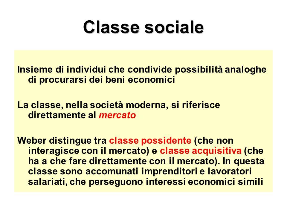 Classe sociale Insieme di individui che condivide possibilità analoghe di procurarsi dei beni economici.