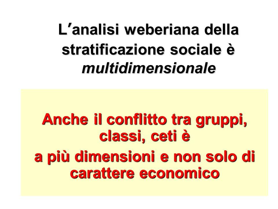 L'analisi weberiana della stratificazione sociale è multidimensionale