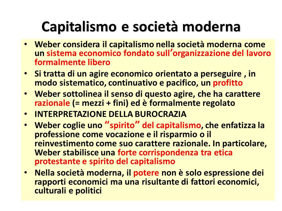 Capitalismo e società moderna