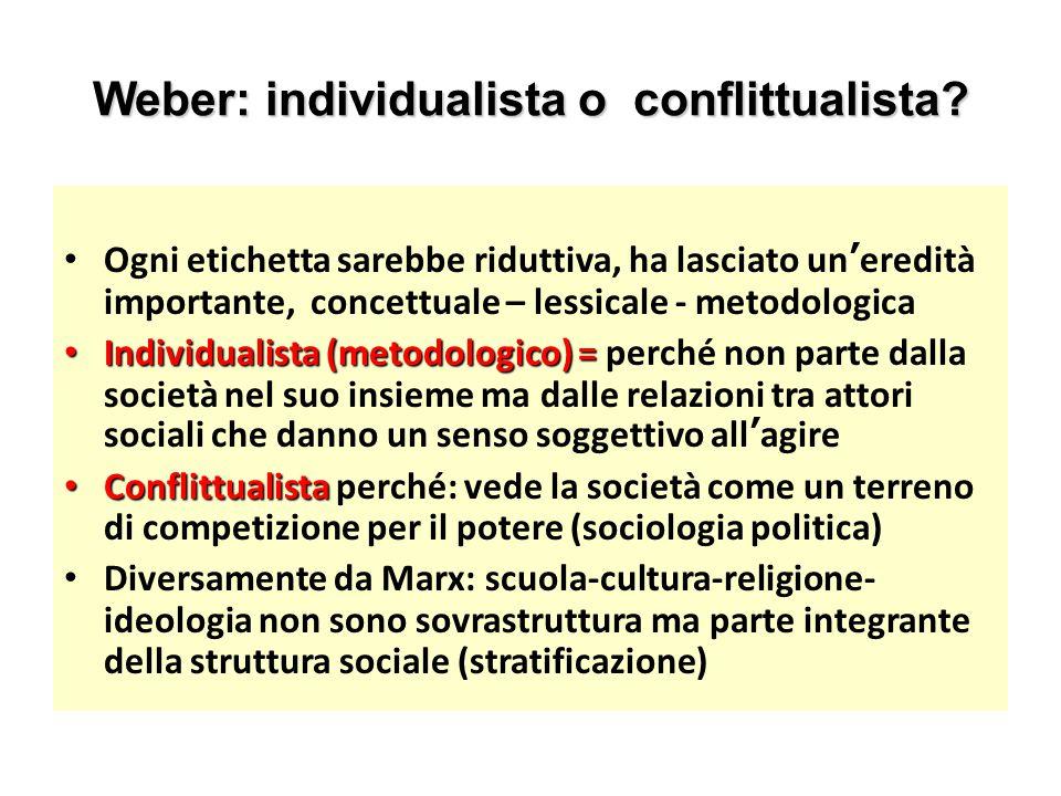 Weber: individualista o conflittualista
