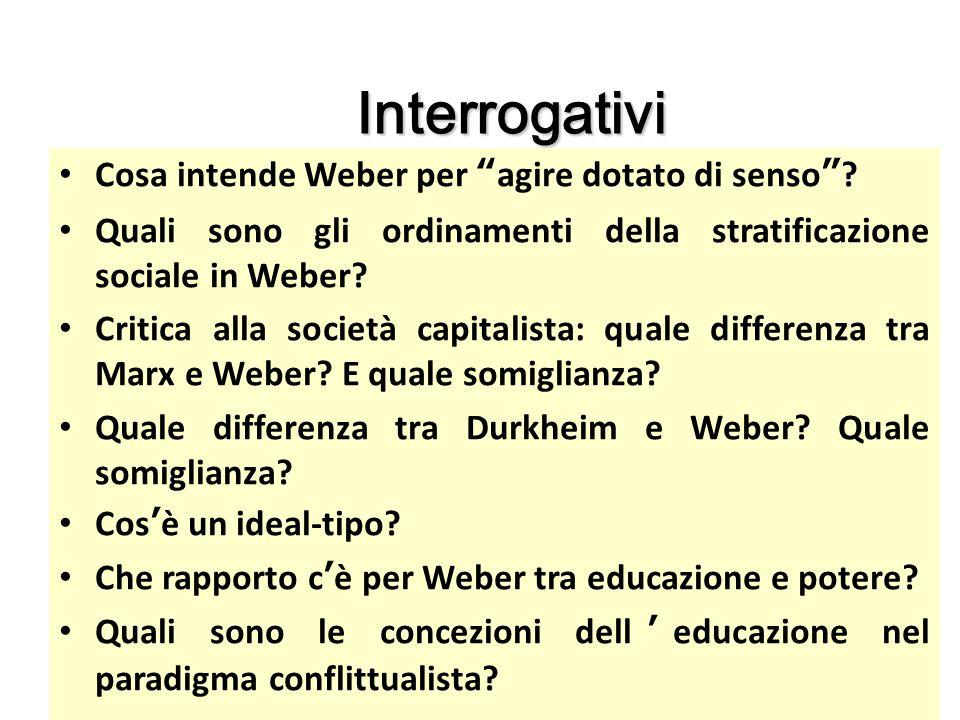 Interrogativi Cosa intende Weber per agire dotato di senso