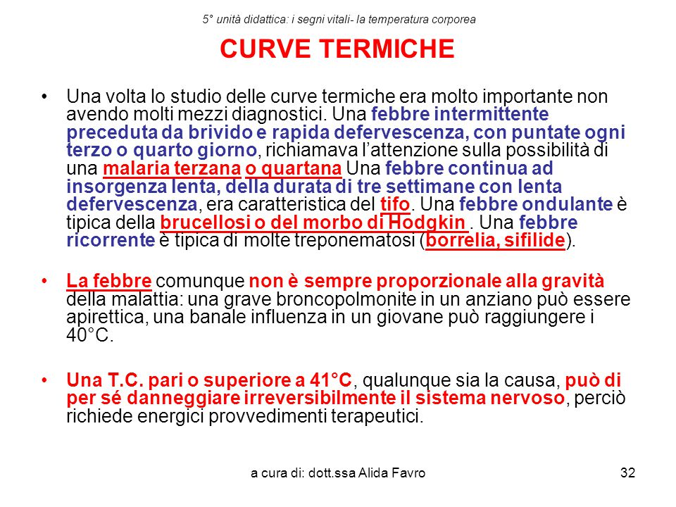 5° unità didattica: i segni vitali- la temperatura corporea