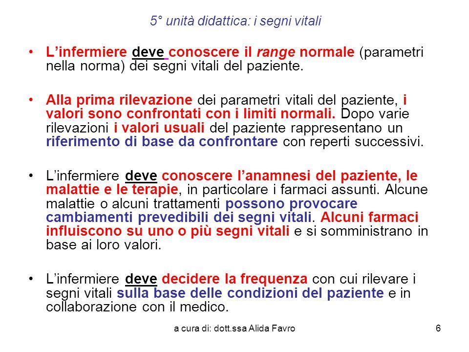 5° unità didattica: i segni vitali