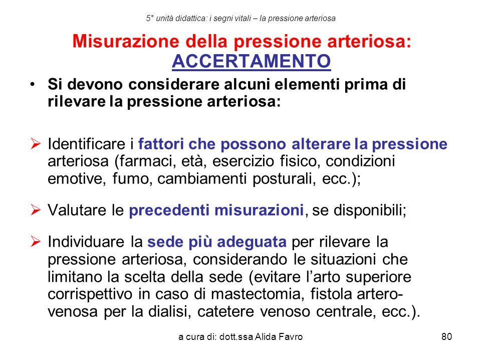 5° unità didattica: i segni vitali – la pressione arteriosa