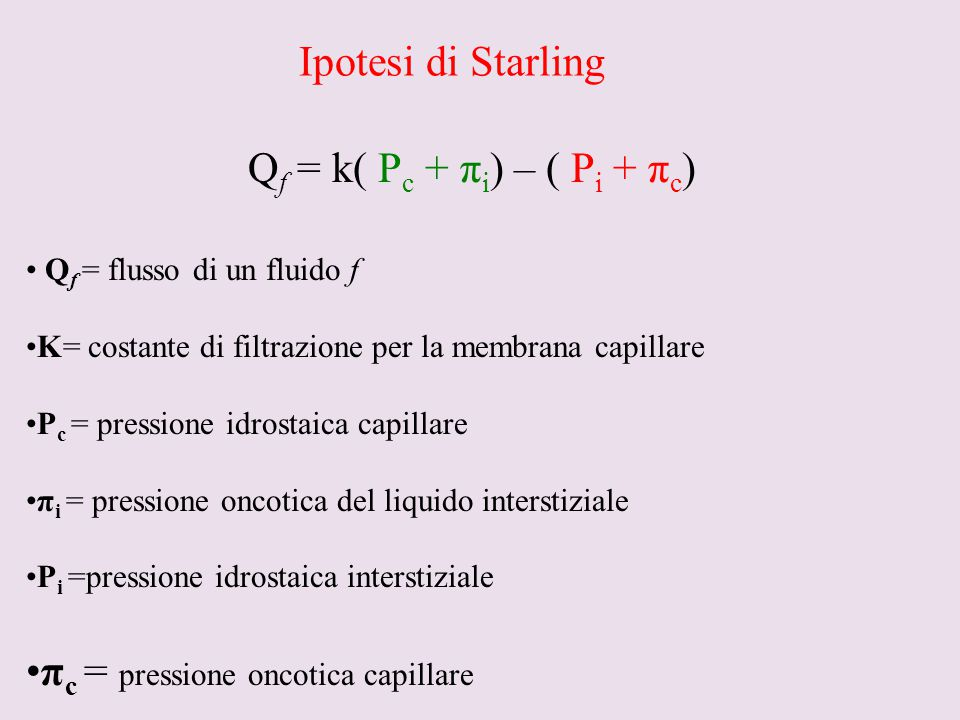 πc = pressione oncotica capillare