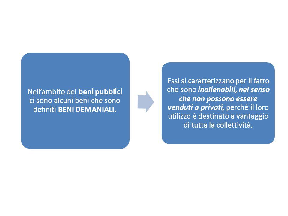 Nell'ambito dei beni pubblici ci sono alcuni beni che sono definiti BENI DEMANIALI.