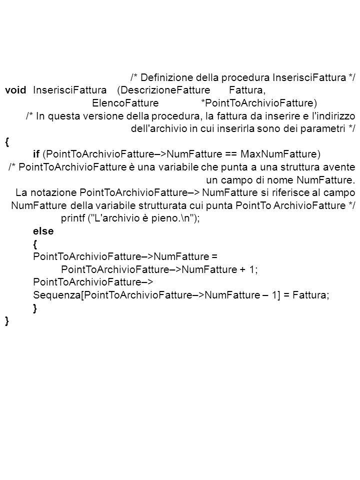 /* Definizione della procedura InserisciFattura */