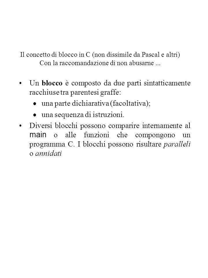 una parte dichiarativa (facoltativa); una sequenza di istruzioni.