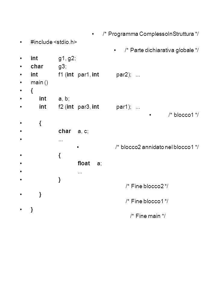 /* Programma ComplessoInStruttura */