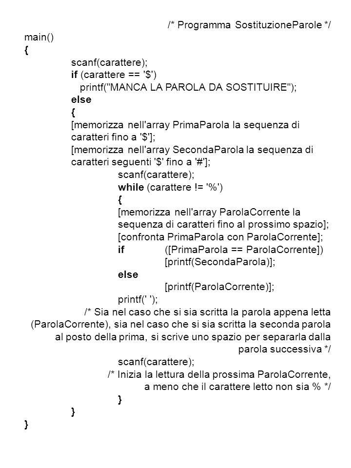 /* Programma SostituzioneParole */