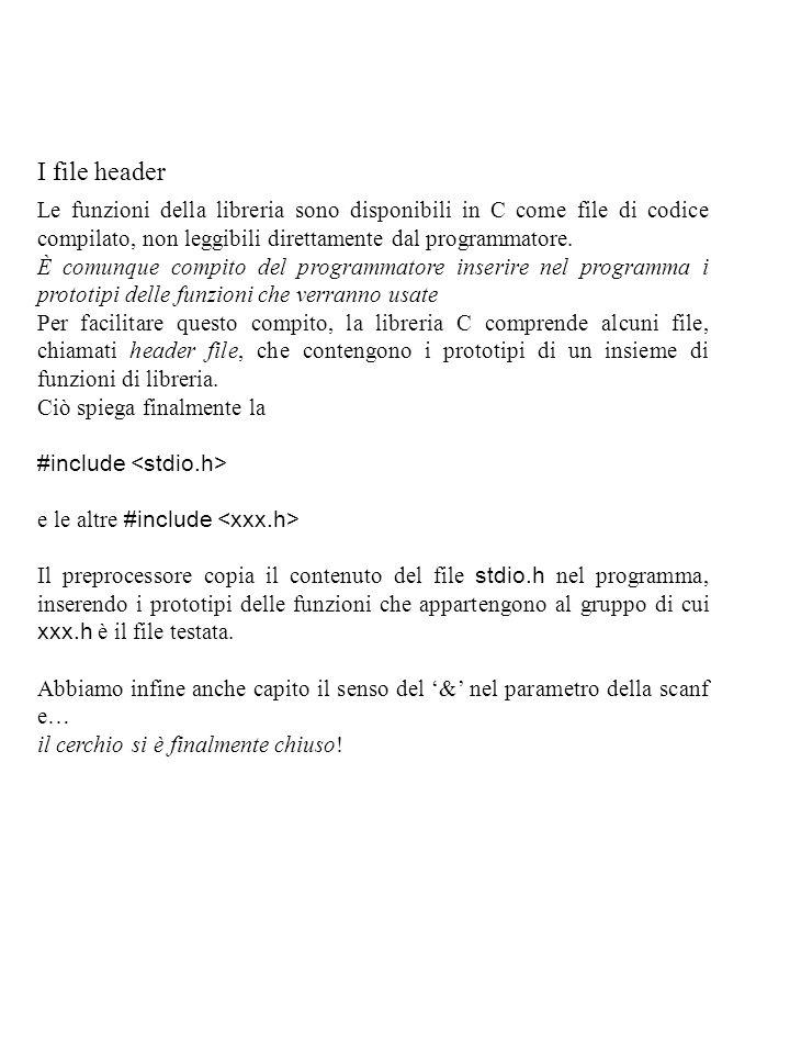 I file header Le funzioni della libreria sono disponibili in C come file di codice compilato, non leggibili direttamente dal programmatore.