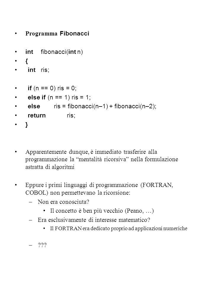 else ris = fibonacci(n–1) + fibonacci(n–2); return ris; }
