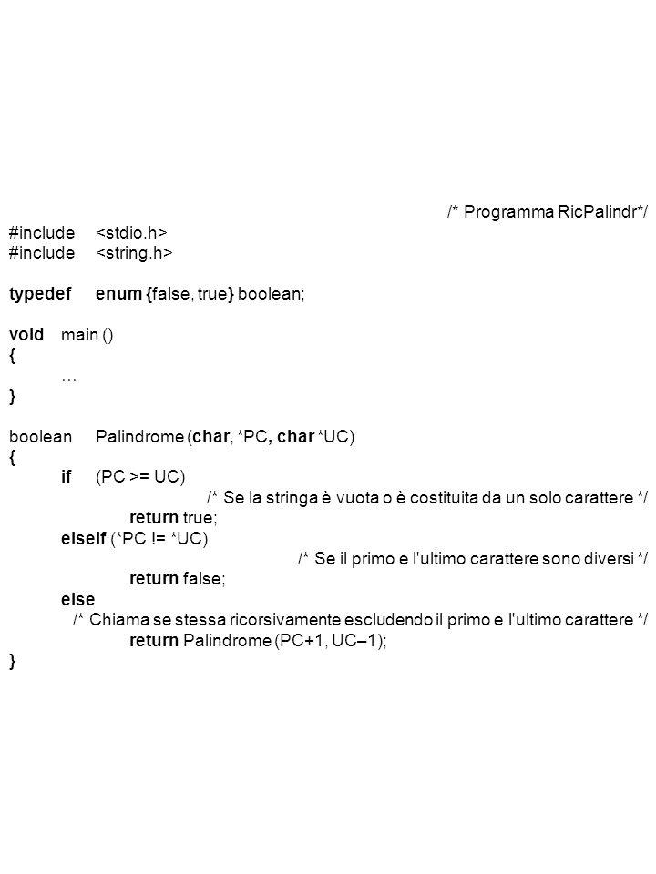 /* Programma RicPalindr*/ #include <stdio.h>