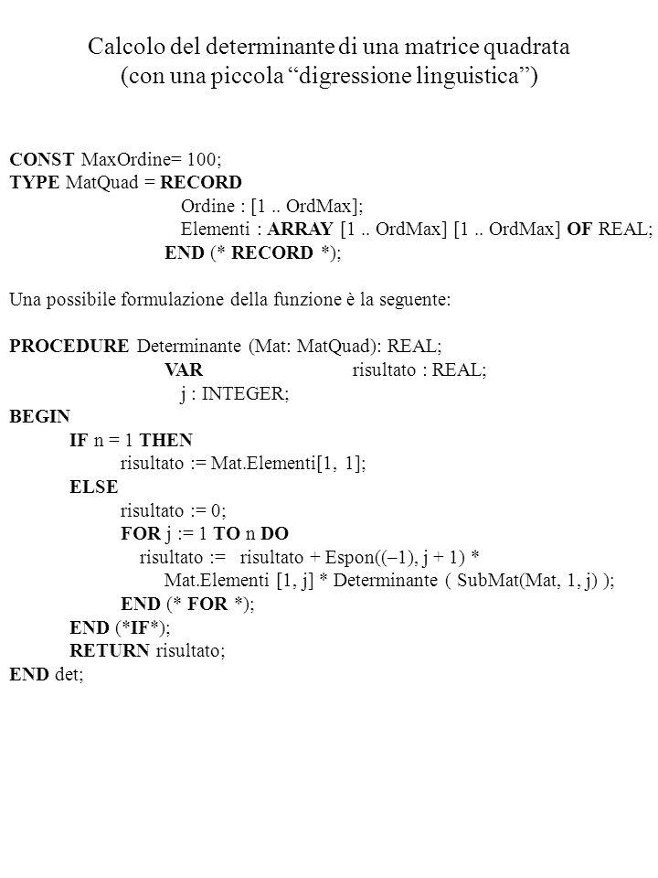 Calcolo del determinante di una matrice quadrata (con una piccola digressione linguistica )