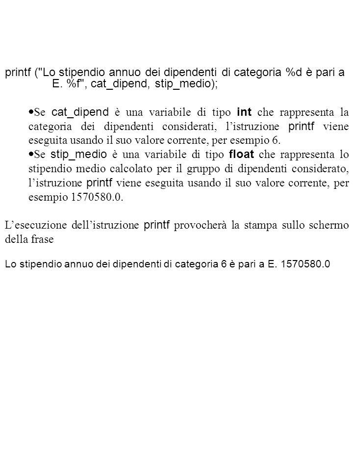 printf ( Lo stipendio annuo dei dipendenti di categoria %d è pari a. E