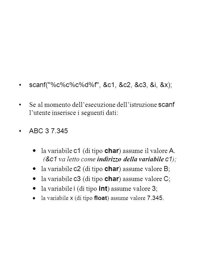 scanf( %c%c%c%d%f , &c1, &c2, &c3, &i, &x);