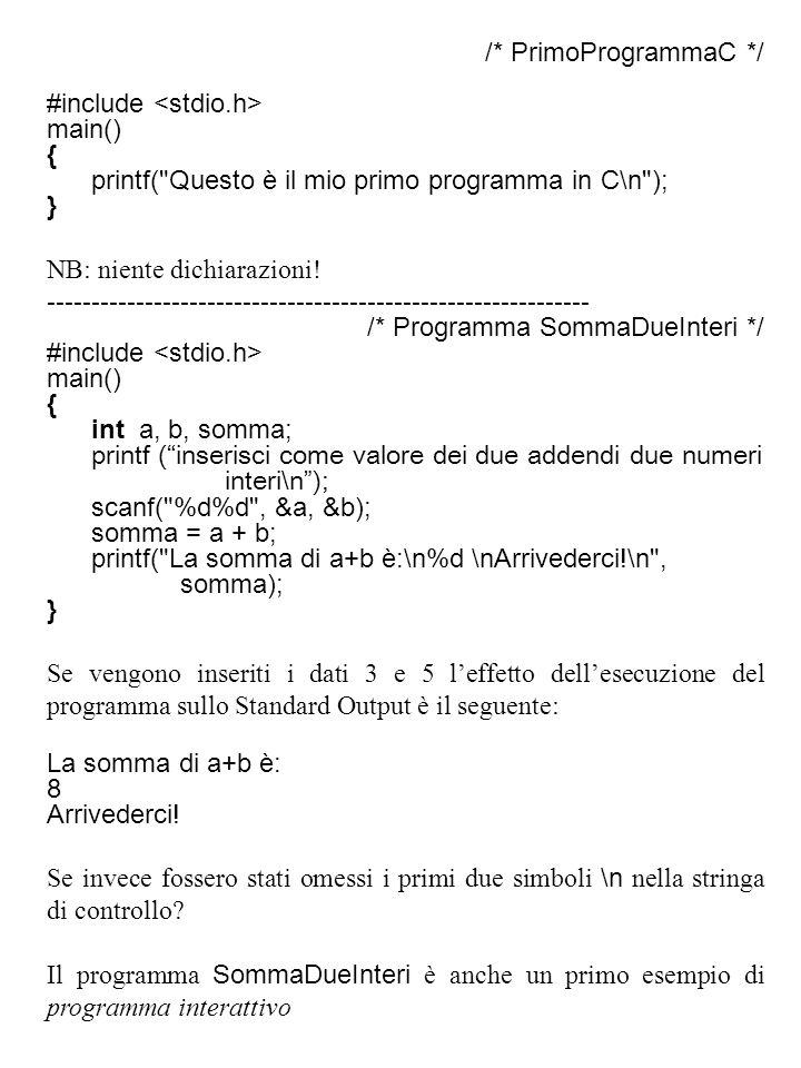 /* PrimoProgrammaC */ #include <stdio.h> main() { printf( Questo è il mio primo programma in C\n );
