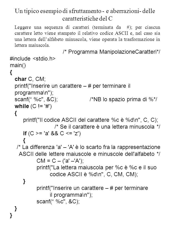 Un tipico esempio di sfruttamento - e aberrazioni- delle caratteristiche del C